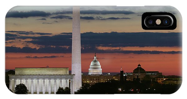 Lincoln Memorial iPhone Case - Washington Dc Landmarks At Sunrise I by Clarence Holmes