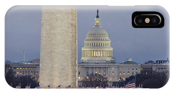 Washington Monument And United States Capitol Buildings - Washington Dc IPhone Case
