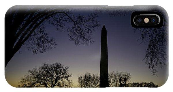 Washington Monument At Twilight With Moon IPhone Case