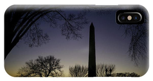Washington Monument At Twilight With Moon IPhone Case