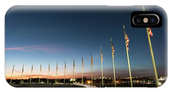 Lincoln Memorial iPhone Case - Washington Monument Flags by Larry Marshall