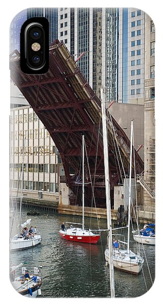 Chicago River iPhone Case - Washington Street Bridge Lift Chicago by Steve Gadomski