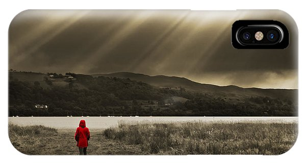 Lake iPhone X Case - Watching In Red by Meirion Matthias