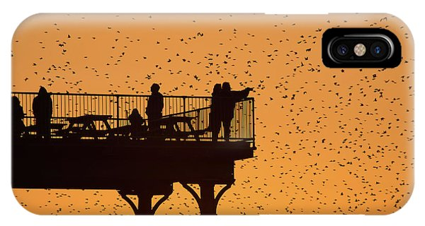 Watching The Sunset And Starlings In Aberystwyth Wales IPhone Case