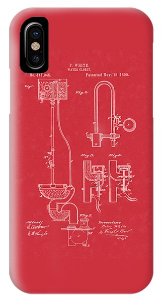 Water Closet Patent Art Red IPhone Case