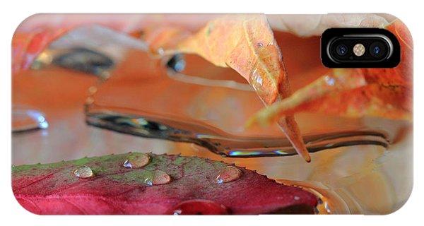 Water Drops On Autumn Leaves IPhone Case