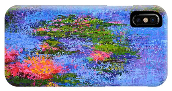 IPhone Case featuring the painting Waterlilies Lily Pads - Modern Impressionist Landscape Palette Knife Work by Patricia Awapara