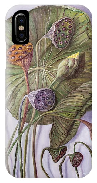 Water Lily Seed Pods Framed By A Leaf IPhone Case