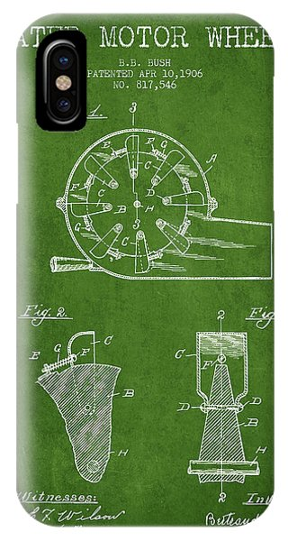 Water Motor Wheel Patent From 1906 - Green IPhone Case