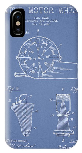 Water Motor Wheel Patent From 1906 - Light Blue IPhone Case