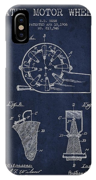 Water Motor Wheel Patent From 1906 - Navy Blue IPhone Case