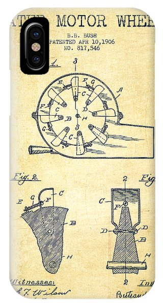 Water Motor Wheel Patent From 1906 - Vintage IPhone Case