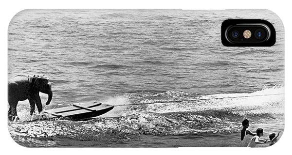 Powerboat iPhone Case - Water Skiing Elephant by Underwood Archives
