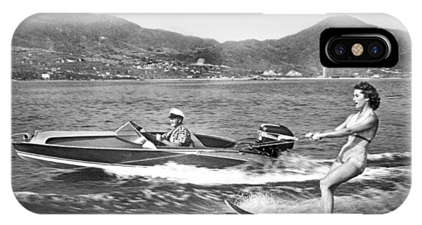 Powerboat iPhone Case - Water Skiing In Acapulco by Underwood Archives