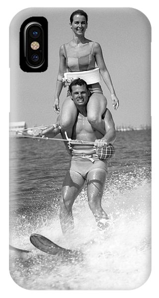 Water Ski iPhone Case - Water Skiing Tricks by H. Armstrong Roberts/ClassicStock