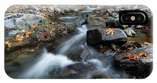 IPhone Case featuring the photograph Water Stream Flowing In The River In Autumn by Michalakis Ppalis