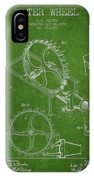 Water Wheel Patent From 1880 - Green IPhone Case