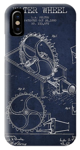 Water Wheel Patent From 1880 - Navy Blue IPhone Case