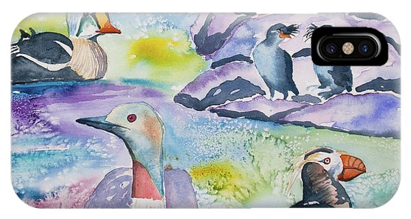 Auklets iPhone Case - Watercolor - Alaska Seabird Gathering by Cascade Colors