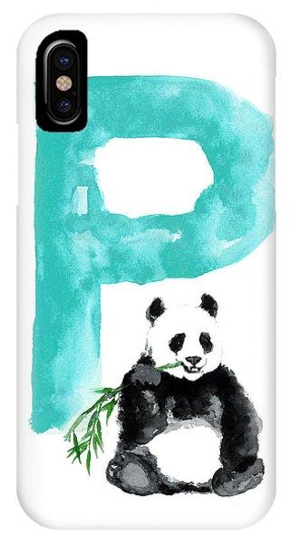 Watercolor Alphabet Giant Panda Poster IPhone Case