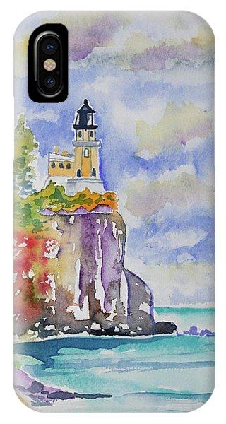 Watercolor - Autumn At Split Rock Lighthouse IPhone Case
