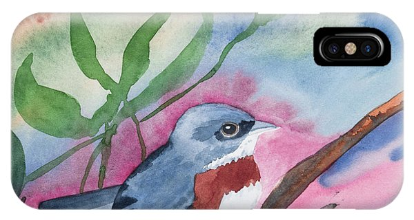 Watercolor - Bird With Colorful Background IPhone Case