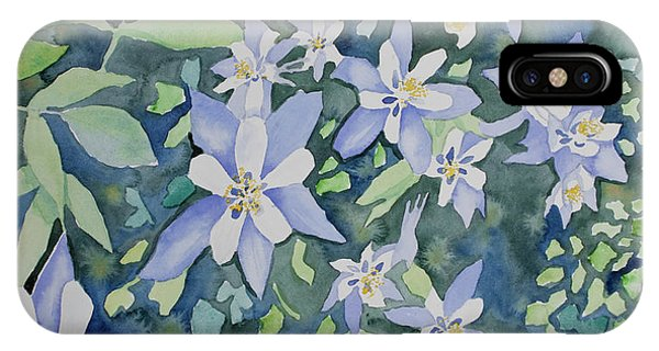 Watercolor - Blue Columbine Wildflowers IPhone Case