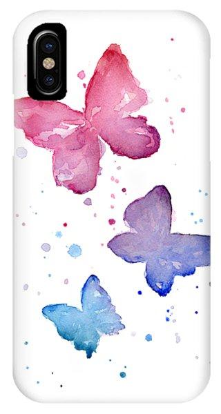 Baby Blue iPhone Case - Watercolor Butterflies by Olga Shvartsur