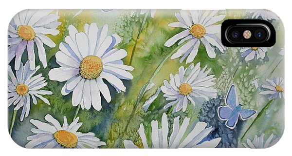Watercolor - Daisies And Common Blue Butterflies IPhone Case