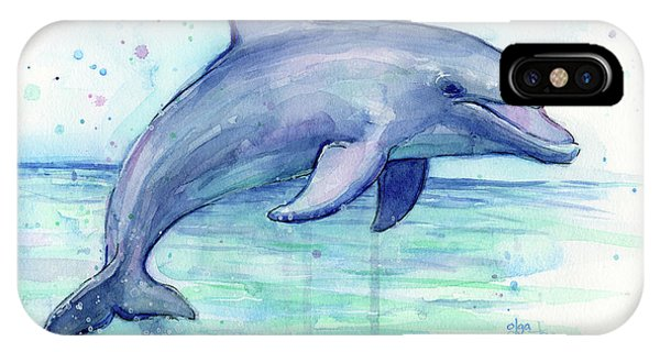 Sea Life iPhone Case - Watercolor Dolphin Painting - Facing Right by Olga Shvartsur