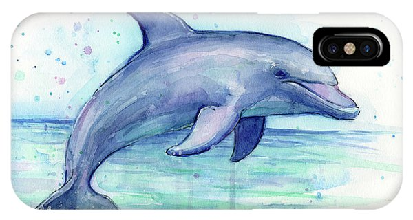 Dolphin iPhone Case - Watercolor Dolphin Painting - Facing Right by Olga Shvartsur