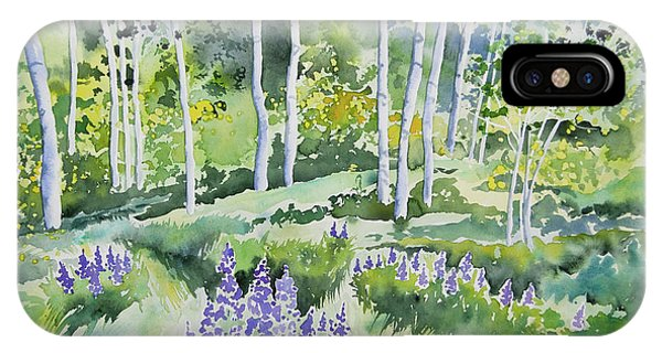 Watercolor - Early Summer Aspen And Lupine IPhone Case