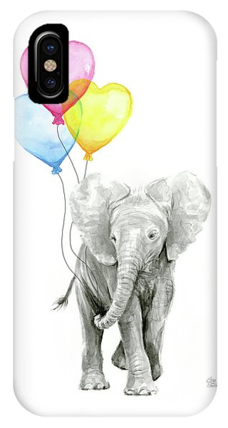 Shape iPhone Case - Watercolor Elephant With Heart Shaped Balloons by Olga Shvartsur