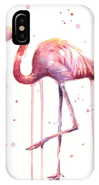 Bird Watercolor iPhone Case - Watercolor Flamingo by Olga Shvartsur