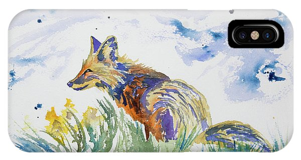 Watercolor - Fox On The Lookout IPhone Case