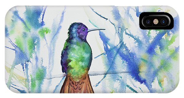 Watercolor - Golden-tailed Sapphire IPhone Case