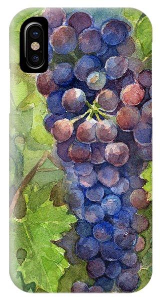 Grape iPhone X Case - Watercolor Grapes Painting by Olga Shvartsur
