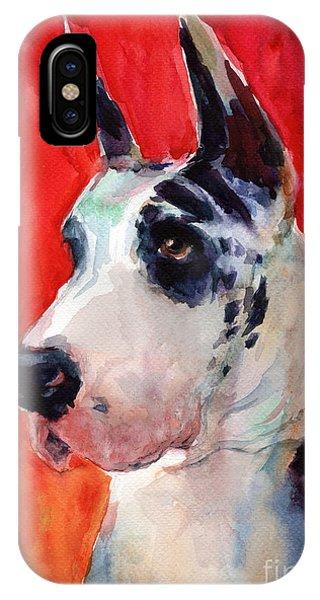iPhone Case - Watercolor Harlequin Great Dane Dog Portrait 2  by Svetlana Novikova
