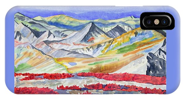 Watercolor - High Alpine Autumn Landscape IPhone Case