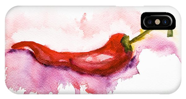 Watercolor Illustration Of Red Hot Chili Pepper  IPhone Case