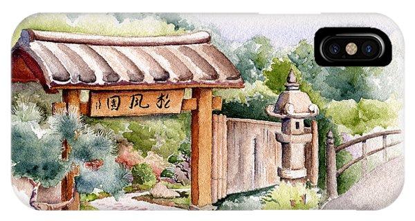 Watercolor Japanese Garden Gate IPhone Case