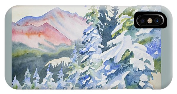 Watercolor - Long's Peak Winter Landscape IPhone Case