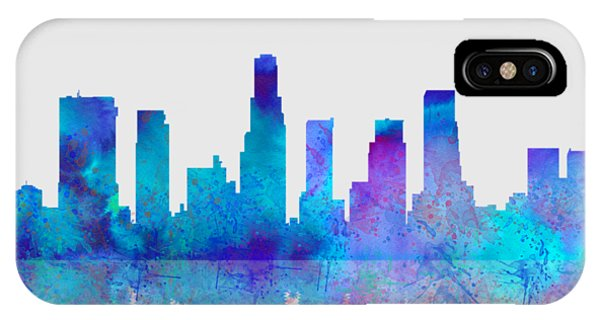 IPhone Case featuring the digital art Watercolor Los Angeles Skylines On An Old Paper by Georgeta Blanaru
