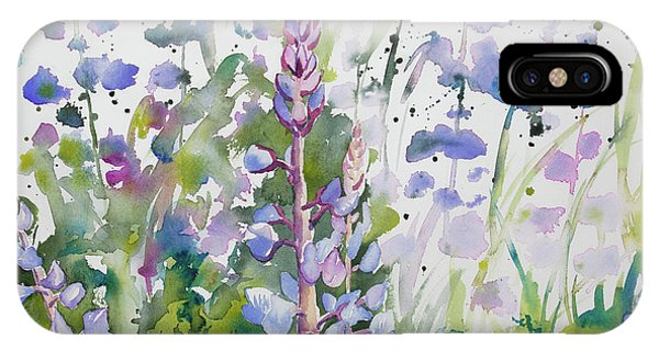 Watercolor - Lupine Wildflowers IPhone Case