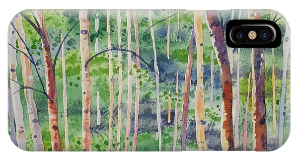 Watercolor - Magical Aspen Forest After A Spring Rain IPhone Case