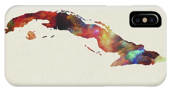 Cuba iPhone Case - Watercolor Map Of Cuba by Design Turnpike
