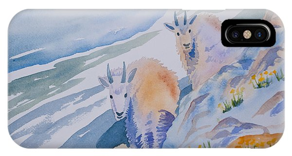 Watercolor - Mountain Goats On Quandary IPhone Case