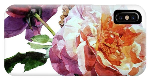 Watercolor Of Two Roses In Pink And Violet On One Stem That  I Dedicate To Jacques Brel IPhone Case