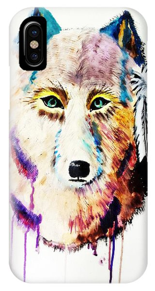 Watercolor Painting Of Spirit Of The Wolf By Ayasha Loya IPhone Case