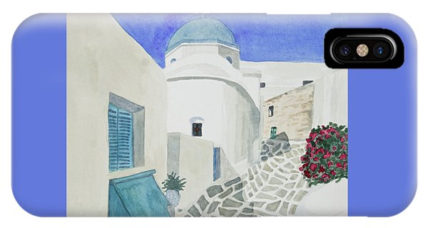 Watercolor - Paros Church And Street Scene IPhone Case